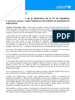 L'UNICEF Se Réjouit de La Déclaration de La Fin de l'Épidémie d'Ebola en Guinée