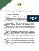 Décret n° 2015-591 entérinant le report de la date des élections communales et municipales