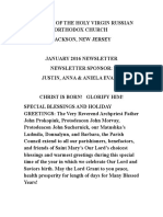 Nativity of the Holy Virgin Church - Newsletter - January, 2016