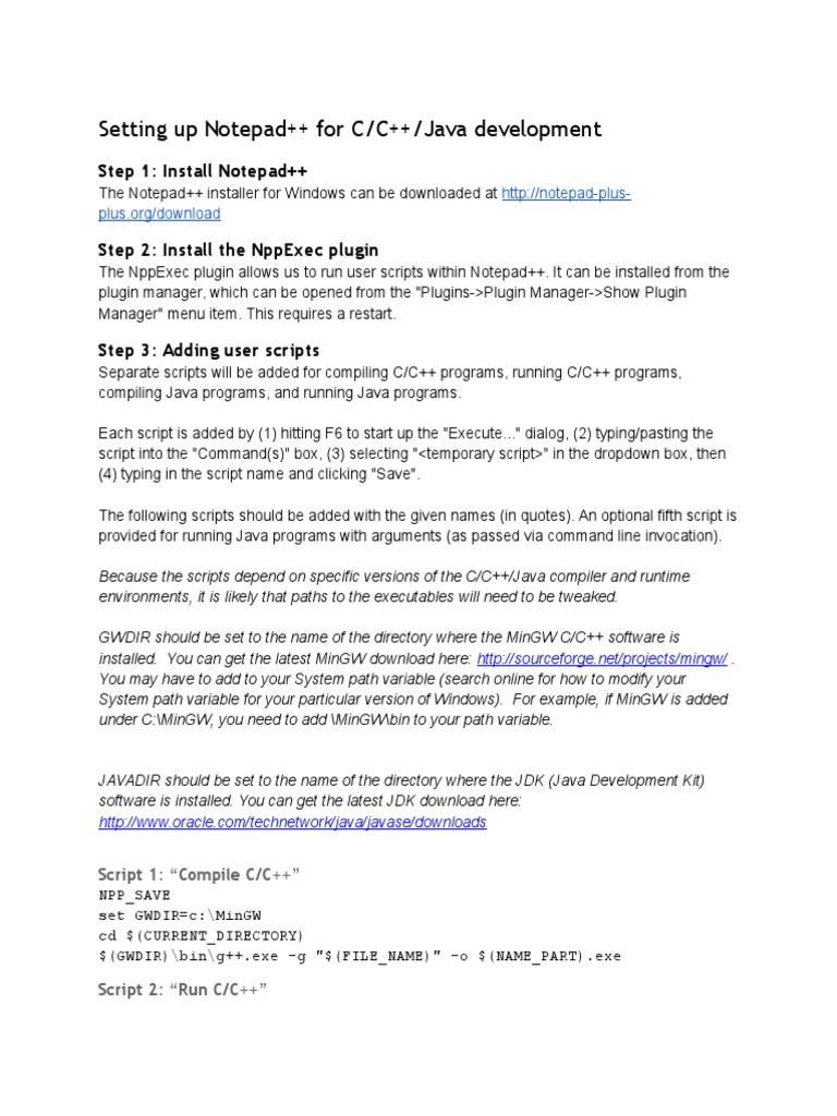 Notepadinstructions for MinGW and JDK | Java (Programming Language