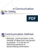 Effective Communication for Safety