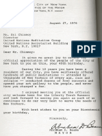 Sri Chinmoy Letter From Mayor Abraham Beame
