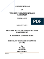 project procurement and materials