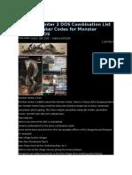 Monster Hunter 2 DOS Combination List