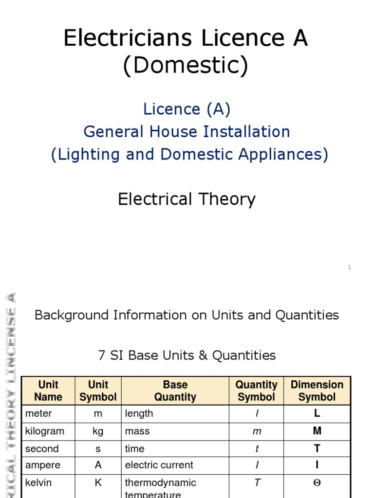 Electricians Licence A Domestic Maltese Syllabus Electrical