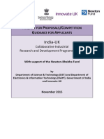 India–UK Collaborative Industrial Research and Development Competition, Clean-tech, Affordable Healthcare and ICT - Competition Guidance