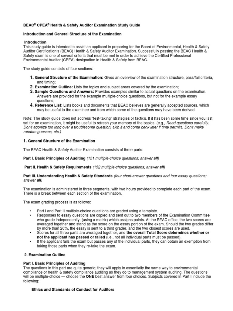 Health and Safety Exam Study Guide   Occupational Safety And Health