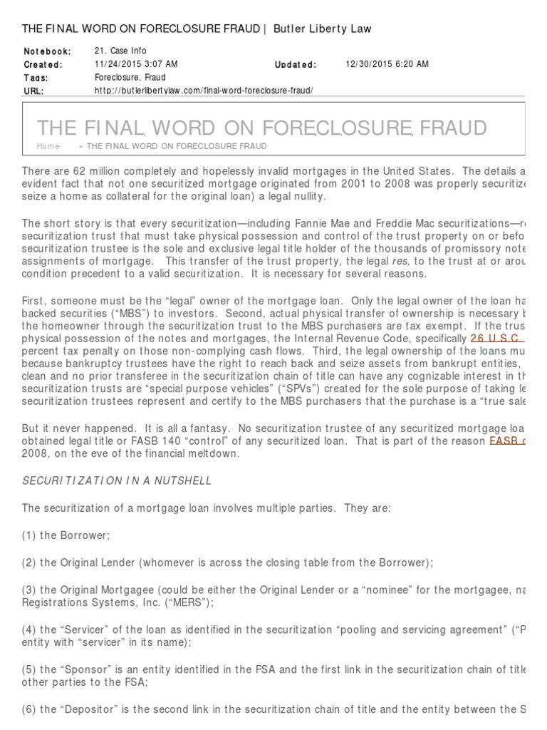 The final word on foreclosure fraud fannie mae securitization platinumwayz