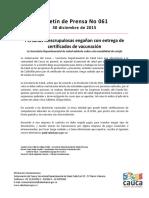 Boletín 061 Personas Inescrupulosas Engañan Con Entrega de Certificados de Vacunación