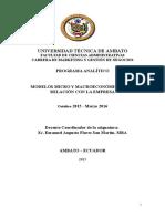 Programa Analítico Modelos Micro y Macro y La Empresa.