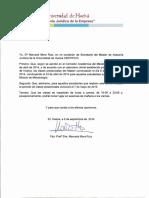 Certificado Horarios y Periodo Lectivo Máster Asesoría Jurídica 2014-2015