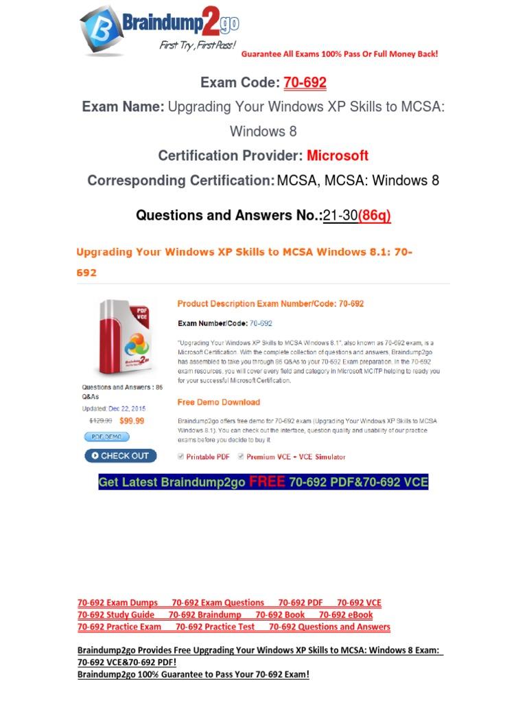 Braindump2go Latest 70 692 Exam Questions Free Download 21 30