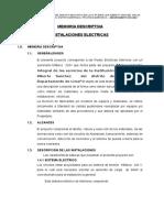 Memoria DescrIptiva Instalaciones Electricas -Colegio Luis Alberto Sanchez 29-10-15