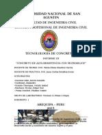 Informe 03 Concretos de Alta Resistencia Con Sueprplastificante y Microsilice
