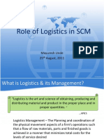 Role of Logistics in SCM - Class3
