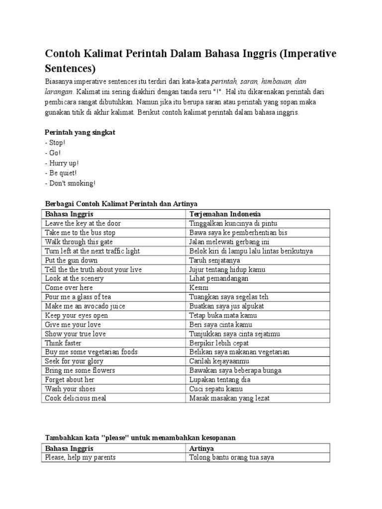 Contoh Kalimat Perintah Dalam Bahasa Inggris