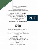 Caso Direito de Passagem (Portugal vs. India) - 1960
