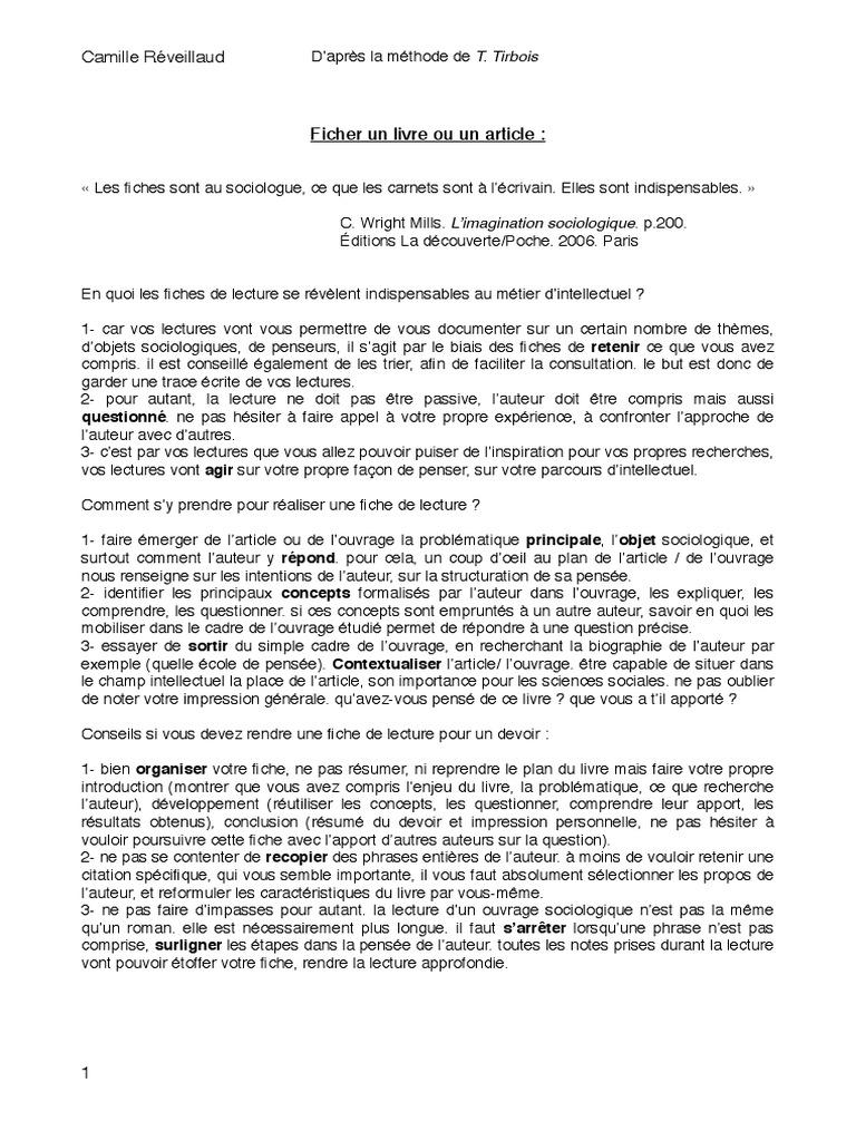 Méthode Fiche de Lecture Tutorat   Sociologie   Lecture ...