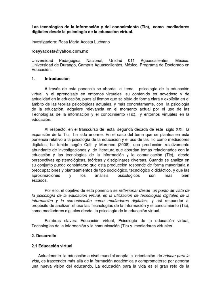 Las TIC Como Mediadores Digitales Desde La Psicología de La ...