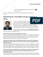 Partnering for Renewable Energy Solutions in Africa - Feature Stories - Tata in Africa