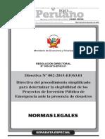 RESOLUCION DIRECTORAL N° 009-2015-EF/63.01