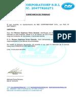 Certificado Trabajo Victor Romero