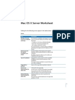 Mac OS X Server 10.4 Worksheet