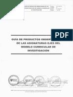 Guía de Productos Observables de Las Asignaturas Ejes Del Mc de Investigación