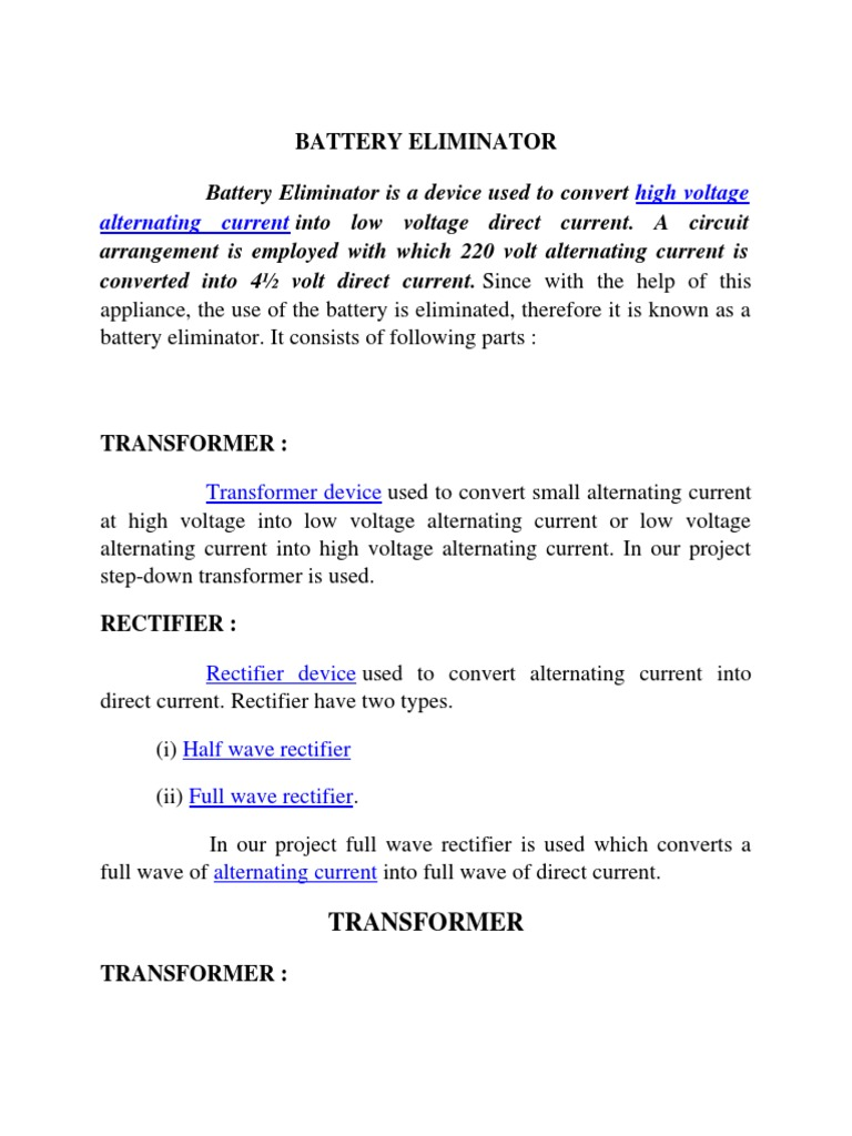 Battery Elimiantor Transformer Rectifier The Current From A Is Direct