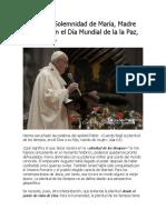 Papa Francisco - Misa en La Solemnidad de María- 01-01-2016-Tiempo-Mercosur