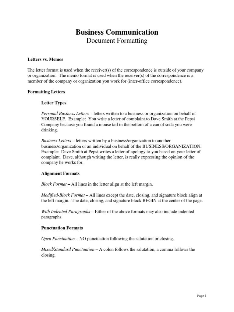 formatting punctuation memorandum