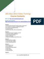3DS Max 2013 Course Contents