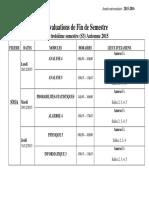 Calendrier Des Evaluations de Fin de Semestre S3 Et S5 Automne 2015