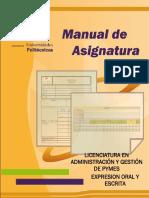 Manual de asigantura Expresion Oral y Escrita