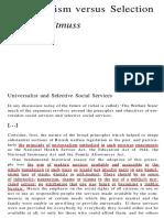 14. Universalism Versus Selection - Richard Titmuss
