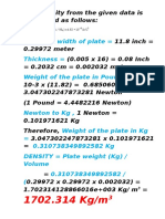 The Density From the Given Data is Calculated as Follows
