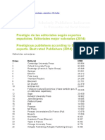 Prestigious Publishers According to Spanish Experts 2014