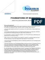 Foundations of Marketing. Description and Details. FINAL PDF