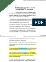 2 Bank Ac for Al Qaeda Operative Abdul Rehman