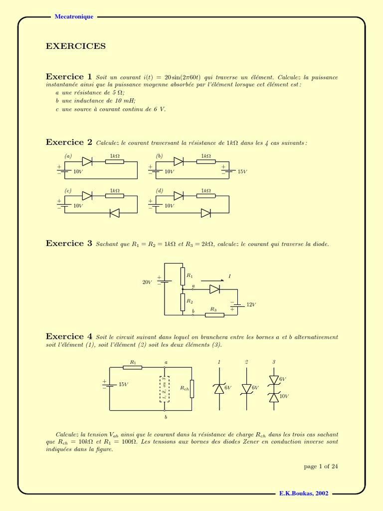 Exercice Diode | Diode | Transistor