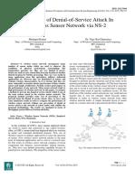 Prevention of Denial-of-Service Attack In Wireless Sensor Network via NS-2
