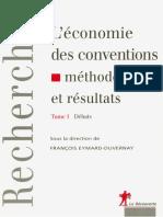 L_economie Des Conventions_ Méthodes Et Résultats Tome 1 - Debats - Editions La Découverte