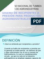 Diseño de Recipientes a Presión Para Productos Agroindustriales