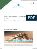 Como Investir No Tesouro Prefixado (LTN)