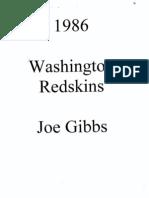 1986 Redskins - Joe Gibbs