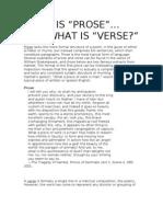 Prose v Verse