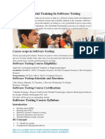 6 Months Industrial Training in Software Testing