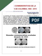 Monedas conmemorativas de la República de Colombia, 1892-2015. Autor Bernardo González White.