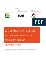 Vulnerabilities of Working Holiday Makers and Policy Recommendations