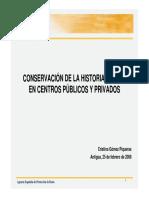 Conservacion de Datos Clinicos en Centros Publicos y Privados